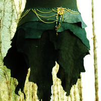 black tribal tattered leather skirt with chains metall findings -  goat leather brass steampunk pirate viking warrior goddess pixie elf