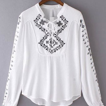 White Tribal Embroidered Bandage Blouse