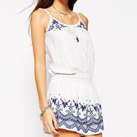 ASOS PETITE Playsuit With Blue Embroidery