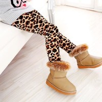 Girls Warm Cheetah leggings