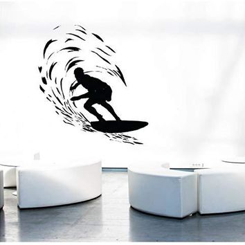 Catching A Wave Large 6 Feet Tall Surfer Vinyl Wall Art Sticker Decal Graphic Home Decor