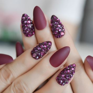3D Almond Stiletto Matte False Nail Finger Tips Grape Purple Burgundy Rhinestones Pre Design Fake Nail Art DIY Tool