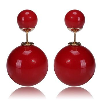 Gum Tee Mise en Style Tribal Earrings - Pearl Red