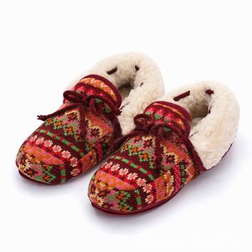 Colorful Folded Fur Bowknot Slip On Warm Floor Indoor Slippers
