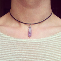 PRE-ORDER* 90's Amethyst Cabochon STONE Point Choker Crystal Necklace
