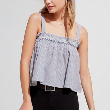 UO Striped Smocked Tank Top | Urban Outfitters