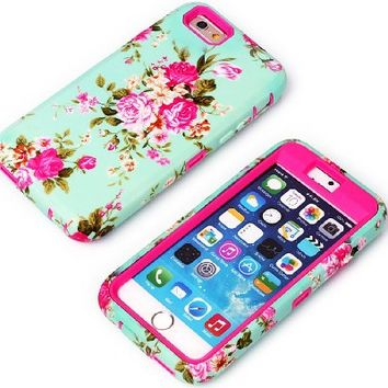 iPhone 6 Case, Tradekmk(TM) Brand New Fashion Hot Sale Hybrid Three-in-one Durable Bumper Soft Skin Back Case Cover Protector[Elegant Orchid Pattern] Compatible with Apple iPhone 6(4.7)[+Stylus]-(Rose Red)
