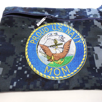 Navy Military NWU Embroidered Wristlet Zip Purse Cosmetic Bag