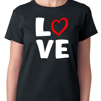 Love T-Shirt with Red Heart Design