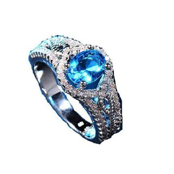 Blue Oval Zircon Stone Ring For Women