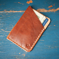 The Minimalist: micro card wallet, hand stitched Horween leather - cognac color