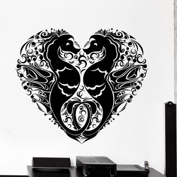 Wall Vinyl Decal Seahorse Romantic Heart Love Ocean Sea Home Interior Decor Unique Gift z4170