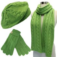 Walmart: Luxury Divas Lime Green Cable Knit Beret Hat Scarf & Glove Set