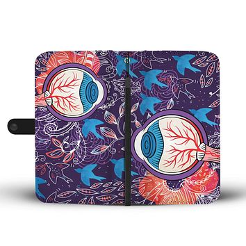 Eyeball Illustration Wallet Phone Case