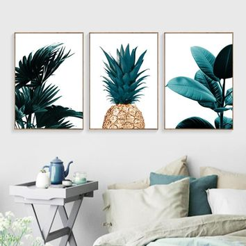Pineapple Wall Art Canvas Painting scenery Wall Painting Banana Leaf Canvas Art Print Posters And Prints Wall Pictures Unframed