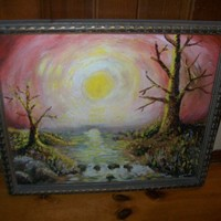 One of a kind Painting Dark Gothic Garden Eden after the Fruit signed