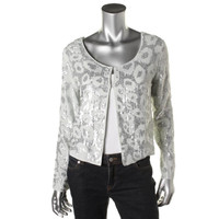 Love Sam Womens Cotton Sequined Collarless Blazer