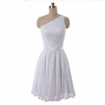 Knee length White Lace A-line One shoulder Bridesmaid Dresses Wedding Party Gown