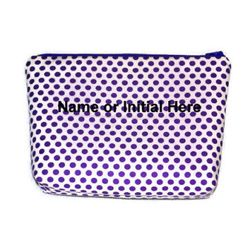 Personalized Purple Polka Dot Cosmetic Bag // Custom Purple Make Up Pouch // Personalized Zippered Pouch //Toiletry Bag