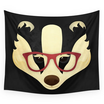 Society6 Hipster Badger Wall Tapestry