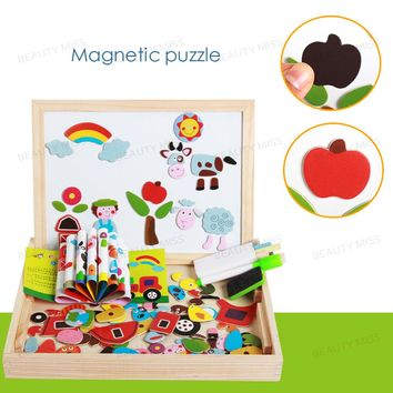 Wooden Farm Magnetic easel board Jigsaw Puzzle Toy Box with Blackboard & Whiteboard for children to draw
