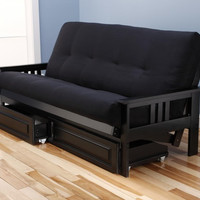 Woodbury Full Size Futon Sofa and Drawer Set, Black Painted Hardwood Frame And Soft Suede Innerspring Mattress, Black