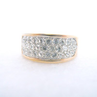 Vintage Jewelry Gold Tone CZ Mens Ring Size 9