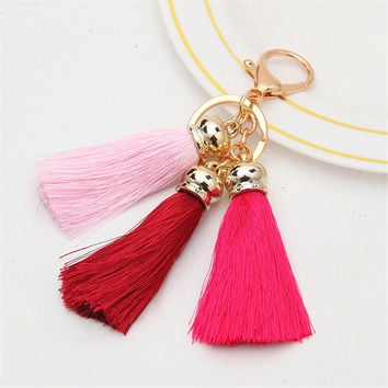 Hot selling Colorful Key Chains Bag Accessories Ice Silk 3 color Tassel Pompom Car Keychain Handbag Key Ring Jewelry For Women