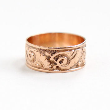 Antique Victorian 10k Rose Gold Ring - Size 7 Vintage Late 1800s Thick Cigar Style Fine Wedding Band Jewelry