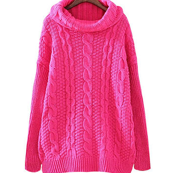 Pink Roll Neck Knit Sweater