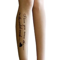 Sexy English Script Print Tattoo Sheer Partyhose Tights One size XS-M