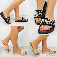 Ladies Flat Sliders Womens Pearl Slipper Sandals Girls Summer Casual Shoes Size