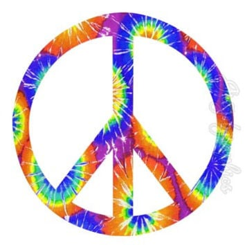 Peace Sign Tie Dye Wall Decal Peel & Stick Removable Wall Art Love Peace PC11