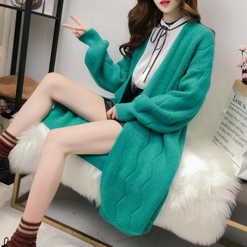 2018 High Quality Autumn Winter Knitted Cardigans Coat Women Fashion Long Sleeve Poncho Sweater Beautiful Womans Cardigan