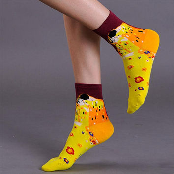 New Arrival Van Gogh Paiting Mona Lisa Pattern Socks Fashion Women Sock Hot Sale Linda Cotton Funny Casual Famous Art Sock W029