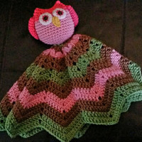 Lil Girl Owl Chevron Lovey security Blanket