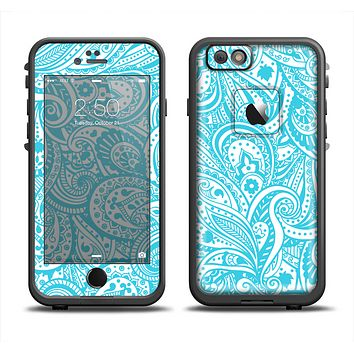 The Light Blue Paisley Floral Pattern V3 Apple iPhone 6 LifeProof Fre Case Skin Set