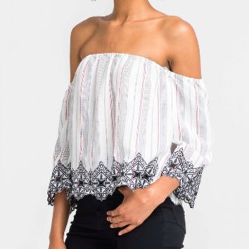 Women's Off Shoulder Embroidered Blouse