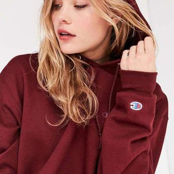 One-nice™ Champion & UO Powerblend Mini Logo Hoodie Sweatshirt - Maroon
