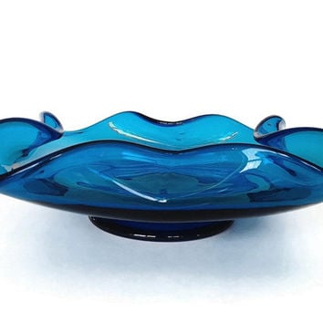 Turquoise Art Glass, Vintage Mid-Century, 1960s, Ashtray, Blown Glass Dish