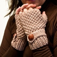 Knit fingerless gloves , mittens in beige with a strap