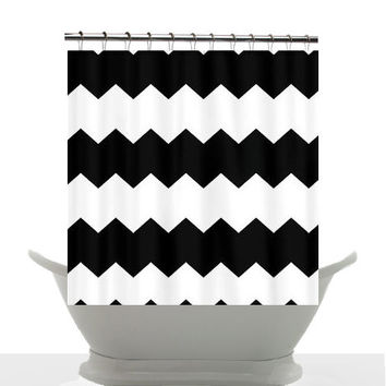 Decorative, artistic Shower Curtain - Modern Black and White chevron motif - home, bathroom, decor, designer