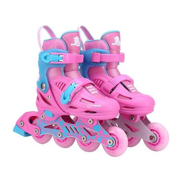 Unisex Children Skating Shoes Professional Single-row Roller Skates Shoes Adjustable Kids Inline Skating Shoes Perfect Gift