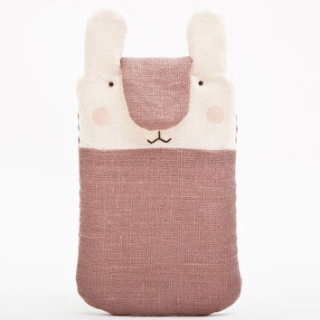 Beige Bunny iphone 6 sleeve, Nokia Lumia sleeve, iPhone case, iPhone sleeve, iPhone cover, iPhone 6+ sleeve