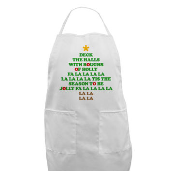 Deck the Halls Lyrics Christmas Tree Adult Apron