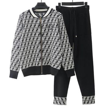 FENDI Newest Fashionable Women Jacquard Sport Knit Cardigan Jacket Coat Pants Trousers Set Two-Piece Black