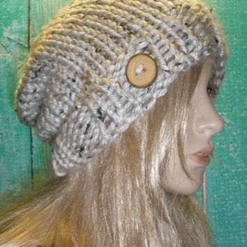 Vegan Slouchy Beanie Hat Winter Hand Knit Oatmeal Beige Cream Tweed Woodsy With A Wood Button