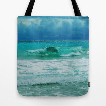 TURQUOISE WAVE Tote Bag by Catspaws