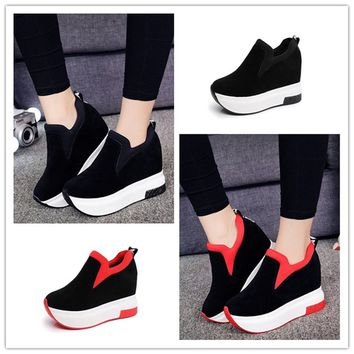 Women's Platform Hidden Wedge High Heels Ankle Sneakers Walking Casual Shoes