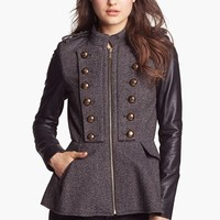 BCBGeneration Tweed & Faux Leather Military Jacket | Nordstrom